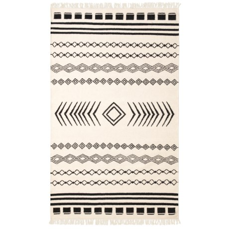 Image of Boho Black and White Area Rug - 5x8? Jute
