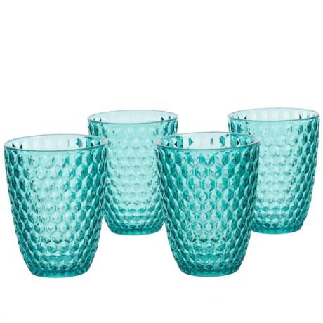Boho Living Checkered Aqua Double Old-Fashioned Glasses - 12.5 oz., Acrylic, Set of 4 in Aqua