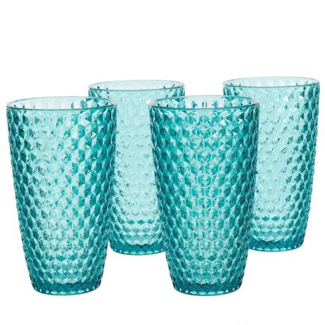 Boho Living Checkered Aqua Highball Glasses - 19 oz., Acrylic, Set of 4 in Aqua