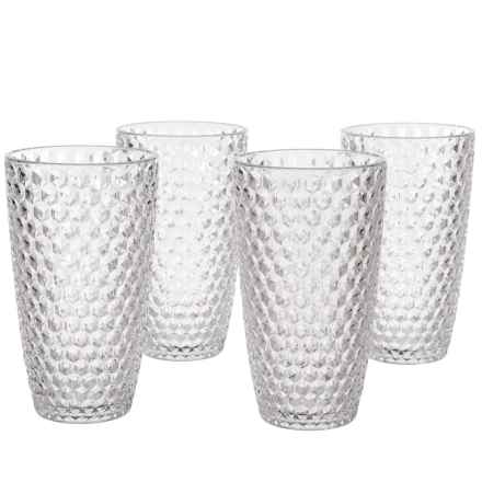 Boho Living Checkered Highball Glasses - 19 oz., Acrylic, Set of 4 in Clear - Overstock