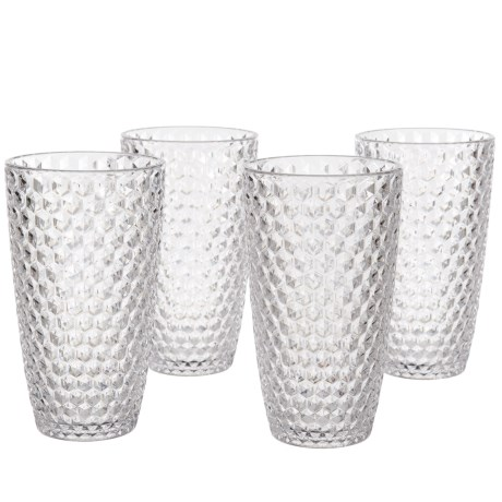 Boho Living Checkered Highball Glasses - 19 oz., Acrylic, Set of 4 in Clear