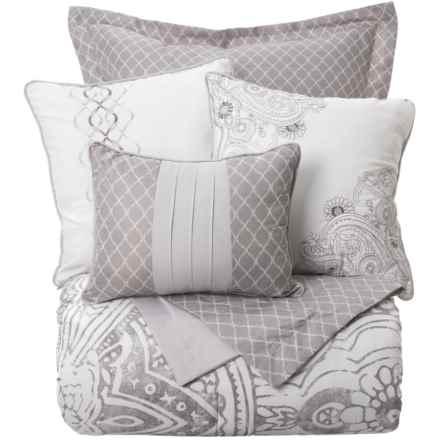 Boho Nights Renata Comforter Set - King, 6-Piece in White/Grey - Closeouts