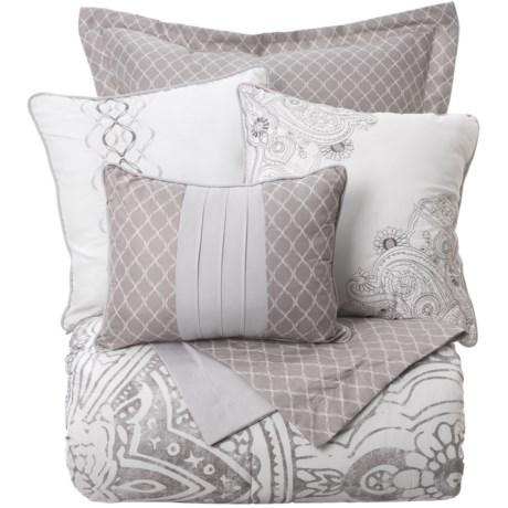 Boho Nights Renata Comforter Set - Queen, 6-Piece in White/Grey