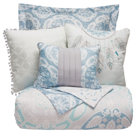 Boho Nights Sabrina Comforter Set - King, 6-Piece in Blue/Aqua/Grey