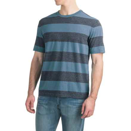 Bold Striped T-Shirt - Short Sleeve (For Men) in Blue Steel/Navy Heather - 2nds