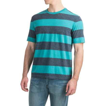 Bold Striped T-Shirt - Short Sleeve (For Men) in Teal/Navy Heather - 2nds