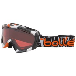 Bolle Gravity Snowsport Goggles - Vermillion Lens in White & Orange Stripes/Amber Gunmetal
