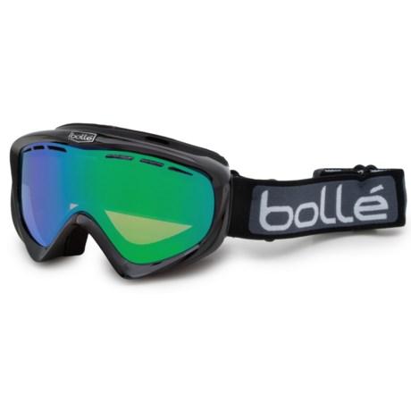 Bolle Y6 OTG Ski Goggles - Photochromic, Over-the-Glasses in Shiny Black/Green Emerald