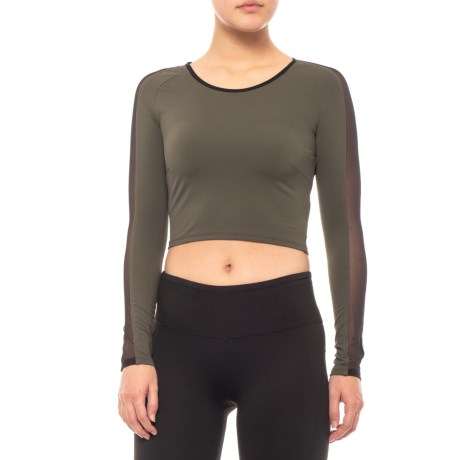 Image of Bolt Crop Yoga T-Shirt - Long Sleeve (For Women)