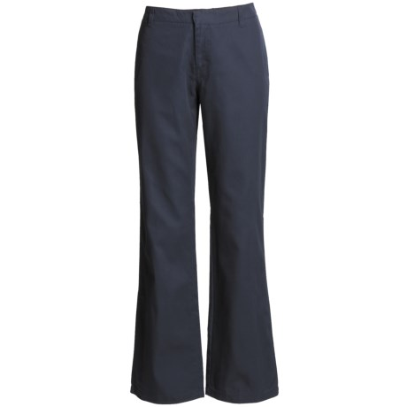 Bootcut Cotton Twill Pants - Flat Front (For Women) in Navy