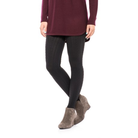 Bootights Cable-Knit Sock Tights (For Women) in Jet
