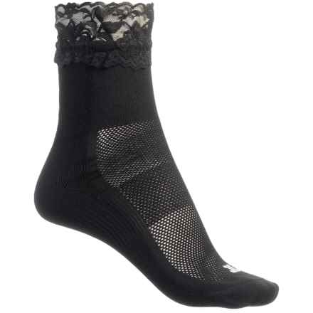 Bootights Sport Lace Boot Socks - Ankle (For Women) in Black/Black - Closeouts