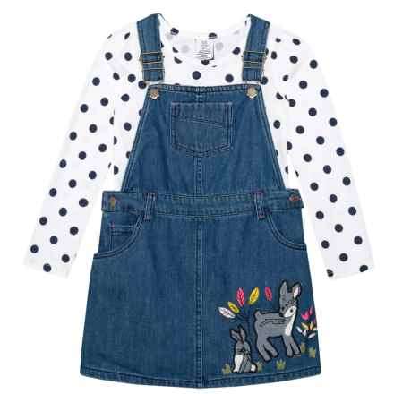 Bopster & Mimi Denim Jumper and Printed T-Shirt Set - Long Sleeve (For Toddler and Little Girls) in Medium Denim - Closeouts