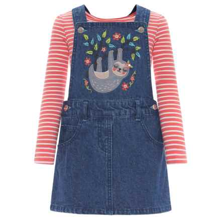 Bopster & Mimi Denim Jumper and Shirt - Long Sleeve (For Toddler Girls) in Medium Spun Denim - Closeouts