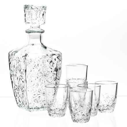 Bormioli Rocco Dedalo Decanter and Shot Glasses - 7- Piece Set in Clear - Closeouts