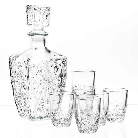 Bormioli Rocco Dedalo Decanter and Shot Glasses - 7- Piece Set in Clear - Closeouts