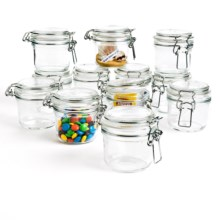 Bormioli Rocco Fido Round Jars with Lid - Set of 12 in Clear - Closeouts