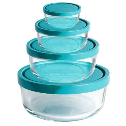 Bormioli Rocco Frigovere Round Glass Storage Bowls with Lids - Set of 4 in Teal - Overstock
