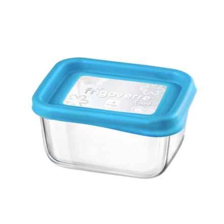 """Bormioli Rocco Frigoverre Fun Rectangle Glass Container - 5"""" in Blue - Closeouts"""