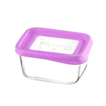 "Bormioli Rocco Frigoverre Fun Rectangle Glass Container - 5"" in Fuchsia - Closeouts"