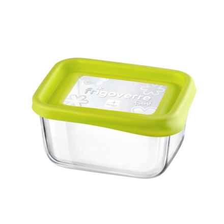 """Bormioli Rocco Frigoverre Fun Rectangle Glass Container - 5"""" in Green - Closeouts"""