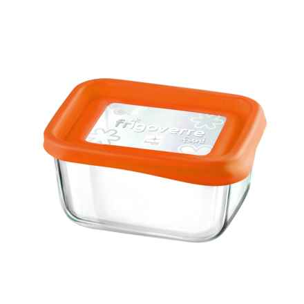 "Bormioli Rocco Frigoverre Fun Rectangle Glass Container - 5"" in Orange - Closeouts"