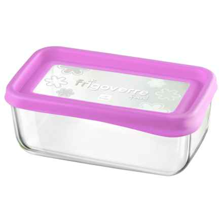 "Bormioli Rocco Frigoverre Fun Rectangle Glass Container - 8"" in Fuchsia - Closeouts"