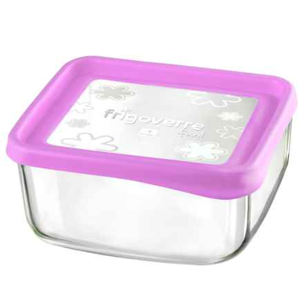 "Bormioli Rocco Frigoverre Fun Square Glass Container - 7"" in Fuchsia - Closeouts"