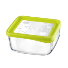 "Bormioli Rocco Frigoverre Fun Square Glass Container - 7"" in Green - Closeouts"
