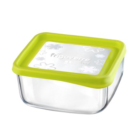 """Bormioli Rocco Frigoverre Fun Square Glass Container - 7"""" in Green"""