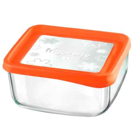 "Bormioli Rocco Frigoverre Fun Square Glass Container - 7"" in Orange - Closeouts"
