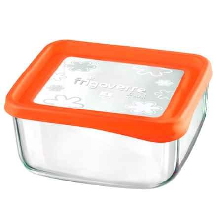 """Bormioli Rocco Frigoverre Fun Square Glass Container - 7"""" in Orange - Closeouts"""