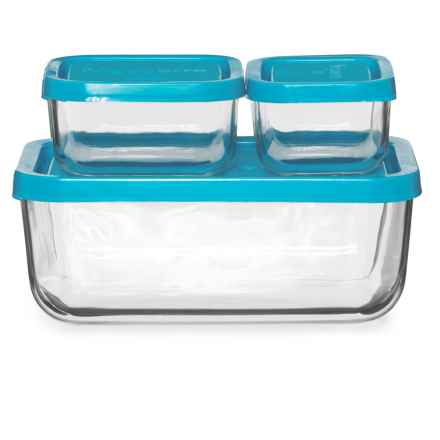 Bormioli Rocco Frigoverre Rectangle Storage Set - 3-Piece in Teal - Closeouts
