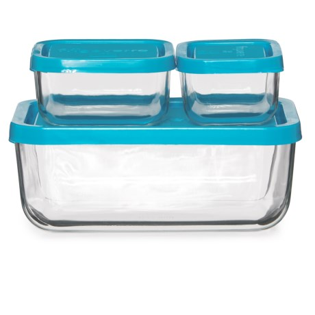 Bormioli Rocco Frigoverre Rectangle Storage Set - 3-Piece in Teal
