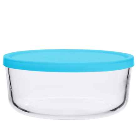 Bormioli Rocco Frigoverre Round Glass Food Storage Container - Frosted Lid in Teal - Closeouts