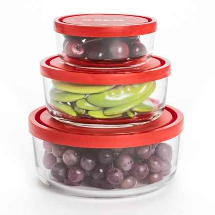 Bormioli Rocco Gelo Glass Storage Bowls - Set of 3 in Clear/Red - Overstock