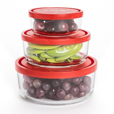 Bormioli Rocco Gelo Glass Storage Bowls - Set of 3 in Clear/Red