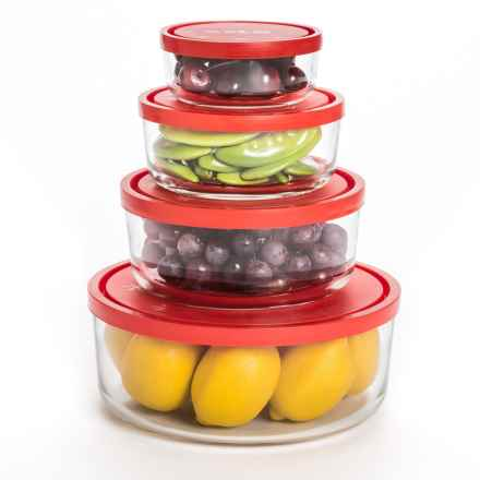 Bormioli Rocco Gelo Glass Storage Bowls- Set of 4 in Clear/Red - Overstock