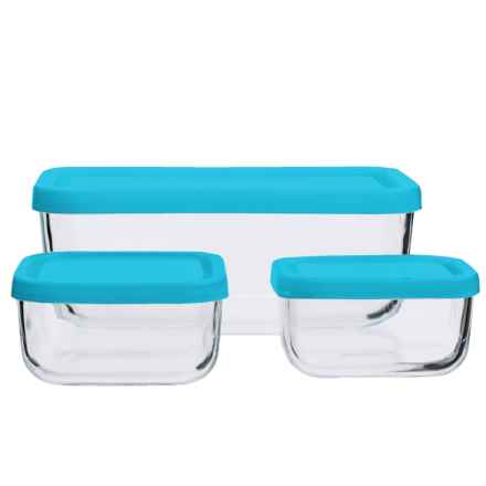 Bormioli Rocco Glass Food Storage Container Set - 3-Piece in Teal - Closeouts