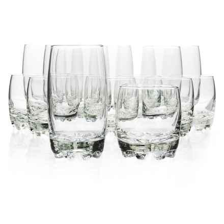 Bormioli Rocco Glassia Beverage and Rocks Glasses - 16-Piece Set in Clear - Closeouts