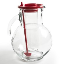 Bormioli Rocco Kufra Glass Pitcher with Ice Tube - 72 3/4 fl.oz. in Red - Overstock