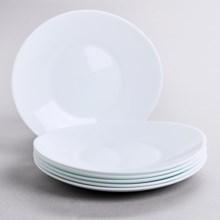 Bormioli Rocco Prometeo Dessert Plates - Tempered Opal Glass, Set of 6 in White - Closeouts