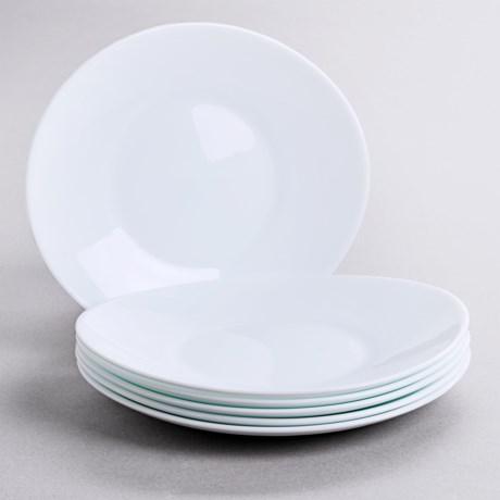 Bormioli Rocco Prometeo Dessert Plates - Tempered Opal Glass, Set of 6 in White