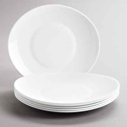 Bormioli Rocco Prometeo Dinner Plates - Tempered Opal Glass, Set of 6 in White - Closeouts
