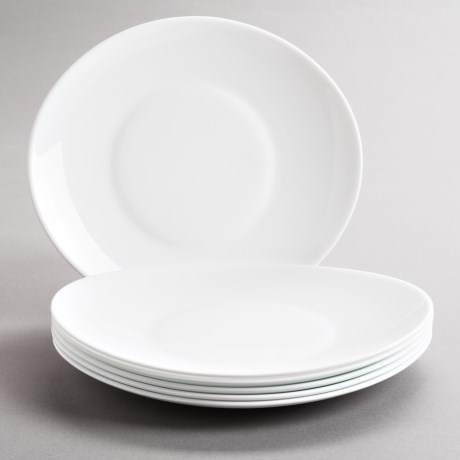 Bormioli Rocco Prometeo Dinner Plates - Tempered Opal Glass, Set of 6 in White