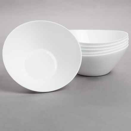 Bormioli Rocco Prometeo Large Salad Bowls - Tempered Opal Glass, Set of 6 in White - Closeouts