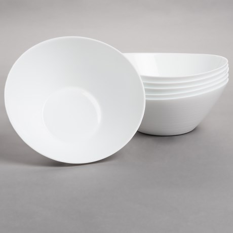 Bormioli Rocco Prometeo Large Salad Bowls - Tempered Opal Glass, Set of 6