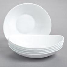 Bormioli Rocco Prometeo Pasta Bowls - Tempered Opal Glass, Set of 6 in White - Closeouts