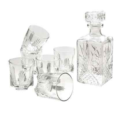Bormioli Rocco Selecta Whiskey Decanter and Rocks Glasses Set- 7-Piece in Clear - Closeouts