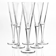 Bormioli Rocco Ypsilon Pulled Stem Flute Glasses- 5.5 fl.oz., Set of 6 in Clear - Overstock